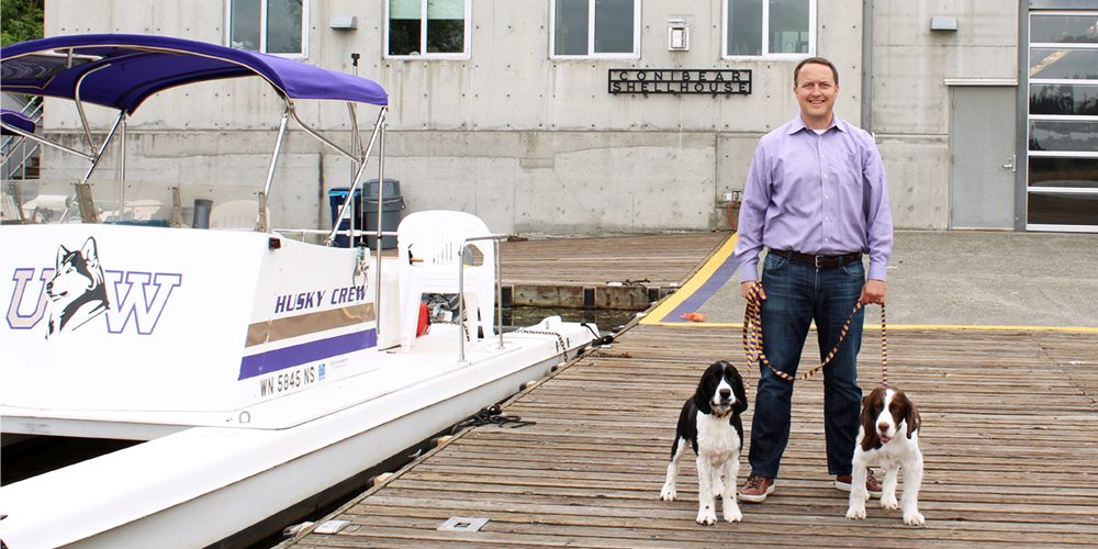 Michael Williams in front of Conibear Shellhouse