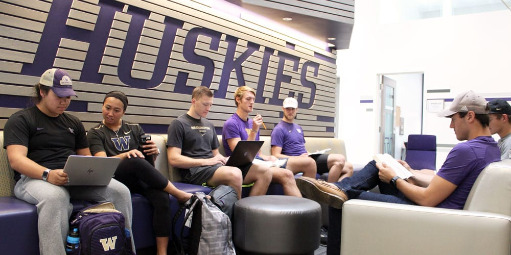 Student-athletes studying in Ackerley Academic Center