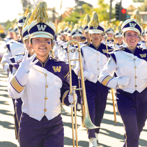 Band member at the Rose Bowl Parade