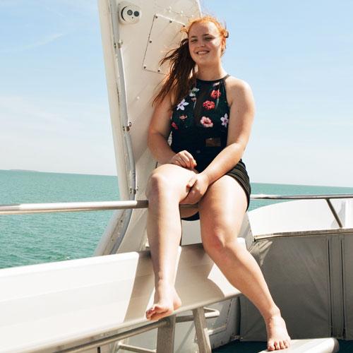 Gabbie Plain on boat