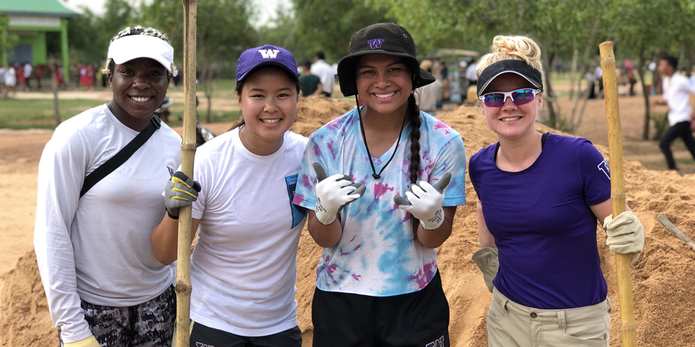 Husky student-athletes in Cambodia