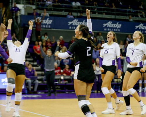 Volleyball team celebrates