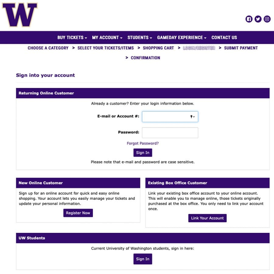 UW Athletics Account Login