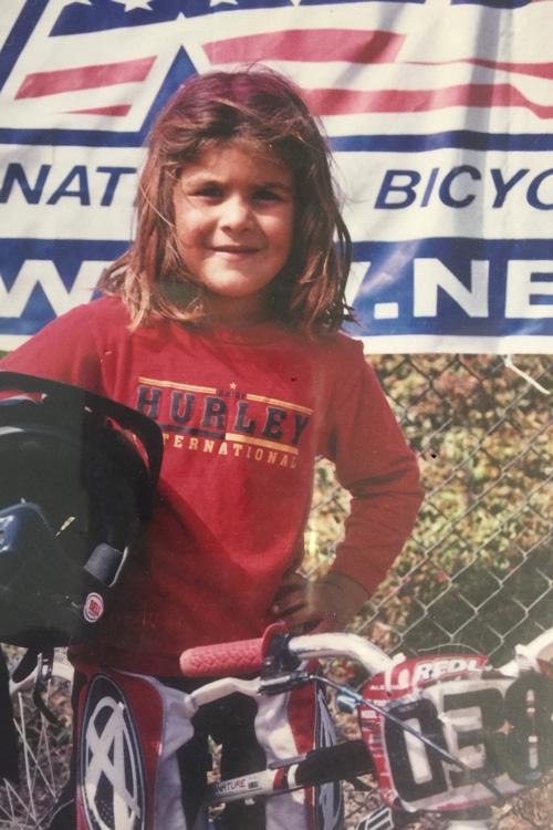 Amber riding BMX